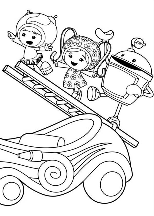 Team Umizoomi Milli And Geo With Bot Climb Ladder In Coloring Page