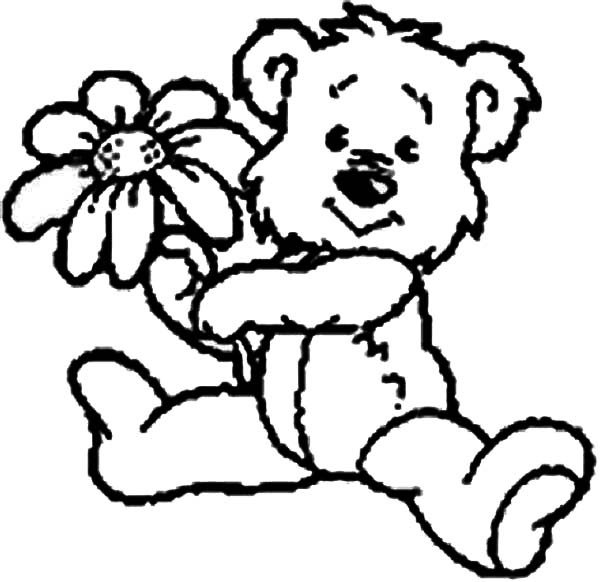 Teddy Bear Cute Give You A Rose Coloring Page