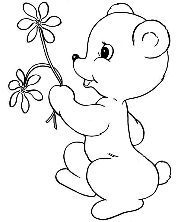 Teddy Bear Bring You Flower Coloring Page