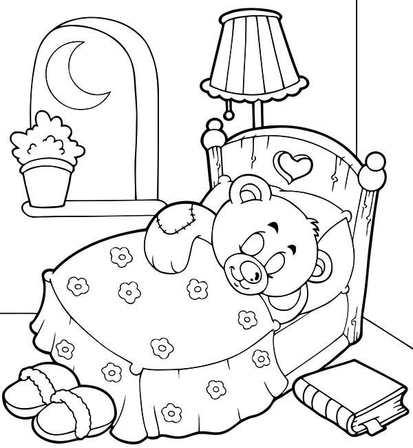 Teddy Bear Sleep Tight Coloring Page PageFull