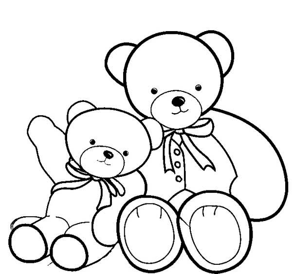 Two Beautiful Teddy Bear Coloring Page Two Beautiful Teddy Bear