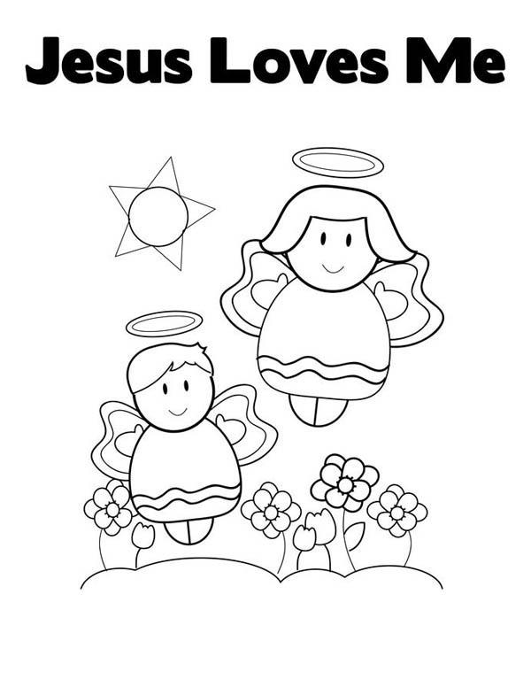 jesus loves me cute little angels in jesus love me coloring page cute little