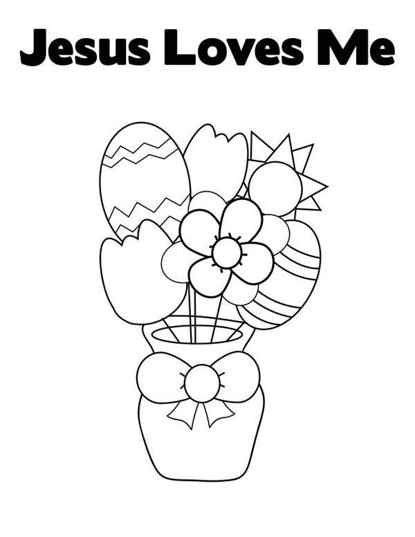 Easter Egg and Flowers in Jesus Love Me Coloring Page: Easter Egg ...