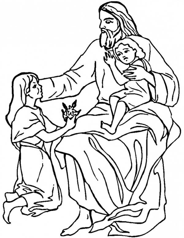 Jesus Loves The Children and Jesus Love Me Coloring Page: Jesus ...