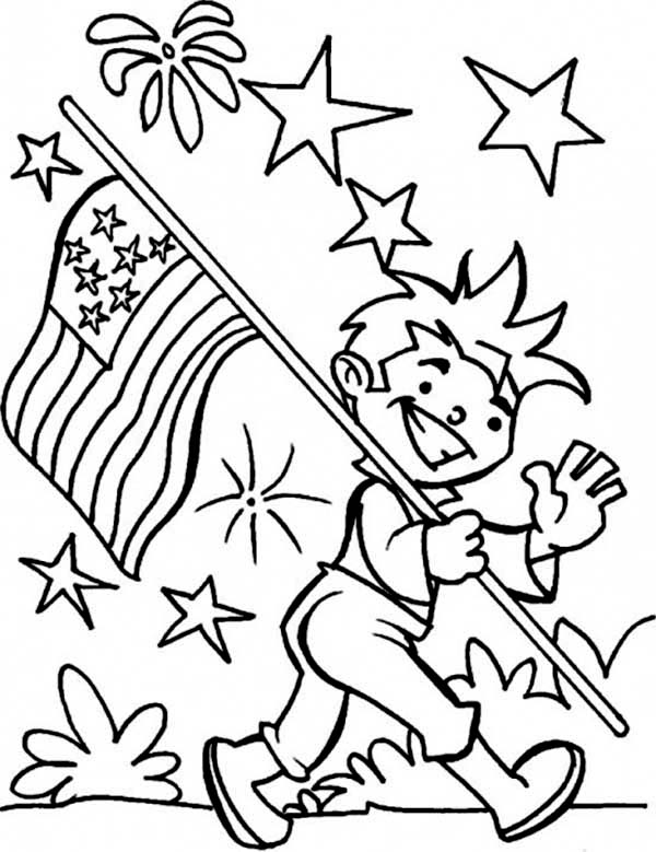 Independence Day Carrying USA Flag On Event Coloring Page