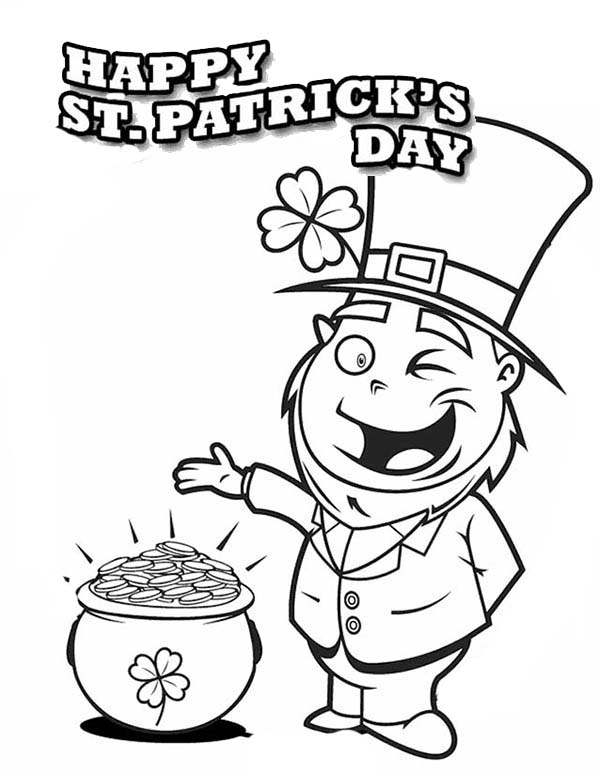 A Happy Leprechaun Found Pot of Gold on St Patricks Day Coloring ...