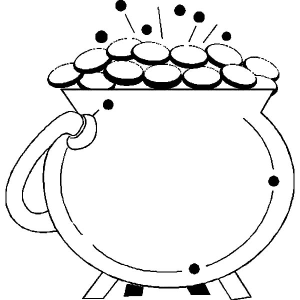 A Sparkling Pot of Gold for St Patricks Day Coloring Page A