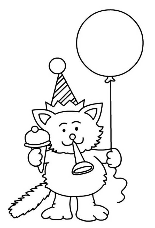 Happy Birthday, : A Cat Blowing a Horn for Happy Birthday Party Coloring Page