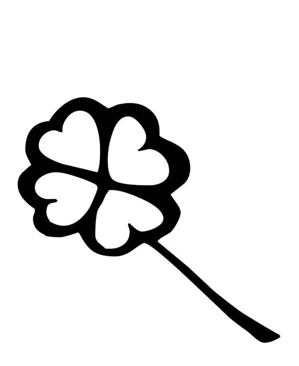 Four-Leaf Clover, : A Charcoal Drawing of Four-Leaf Clover Coloring Page