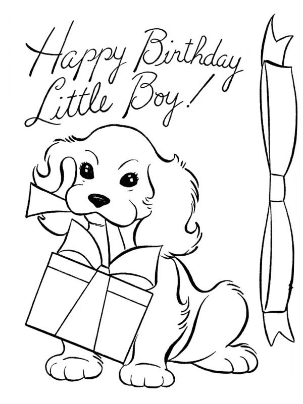 A Dog And Happy Birthday Present Coloring Page A Dog And