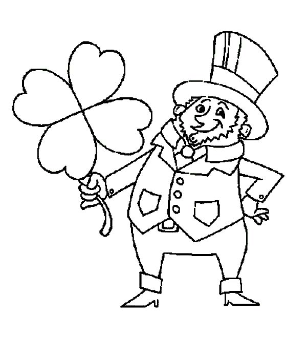 St Patricks Day, : A Fat Leprechaun Holding a Big Four-Leaf Clover on St Patricks Day Coloring Page