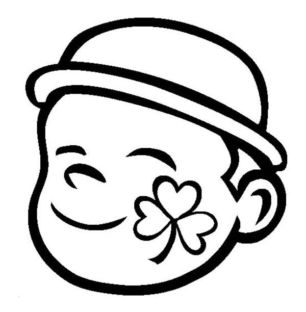 Four-Leaf Clover, : A Four-Leaf Clover Face-Paint Coloring Page