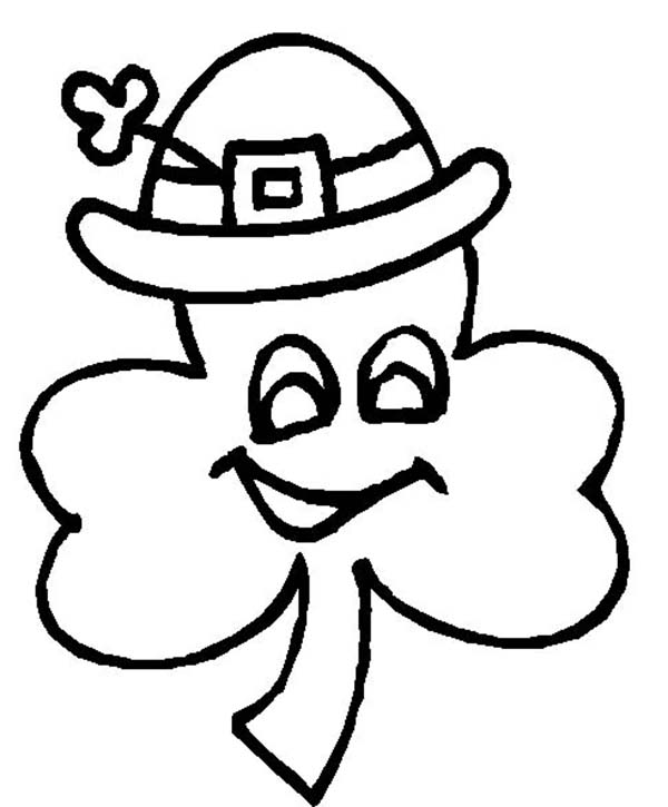 Four-Leaf Clover, : A Four-Leaf Clover Wearing Irish Hat Coloring Page