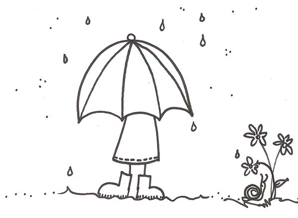 A Girl With Umbrella Under Raindrop Coloring Page