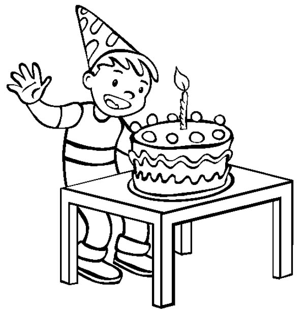 Happy Birthday, : A Happy Boy with Happy Birthday Cake Coloring Page
