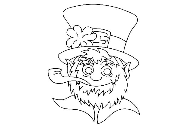St Patricks Day, : A Head Figure of Leprechaun on St Patricks Day Coloring Page