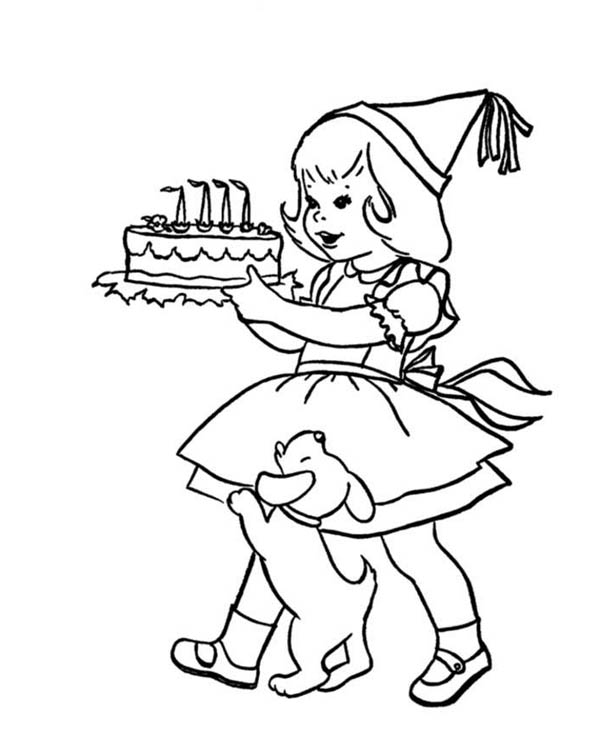 A Little Girl Holding Happy Birthday Cake Coloring Page