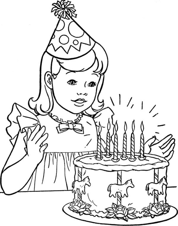 Happy Birthday, : A Little Girl with Happy Birthday Cake Coloring Page