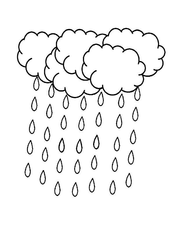 Raindrop, : A Lot of Raindrop Falling from the Sky Coloring Page