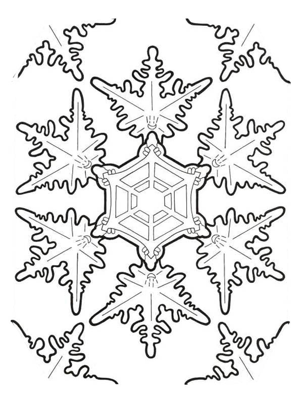 Snowflakes, : Amazing Christmas Snowflakes Coloring Page