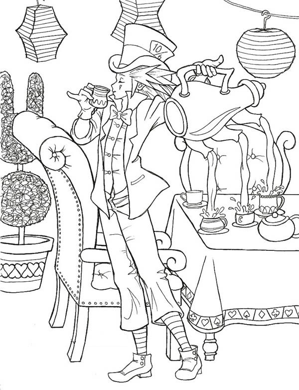 Mad Hatter, : Amazing Mad Hatter and Three Hole Teapot Coloring Page