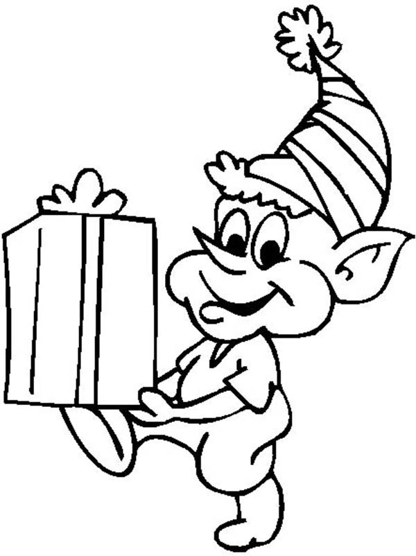 Elf, : An Elf Got Present Coloring Page