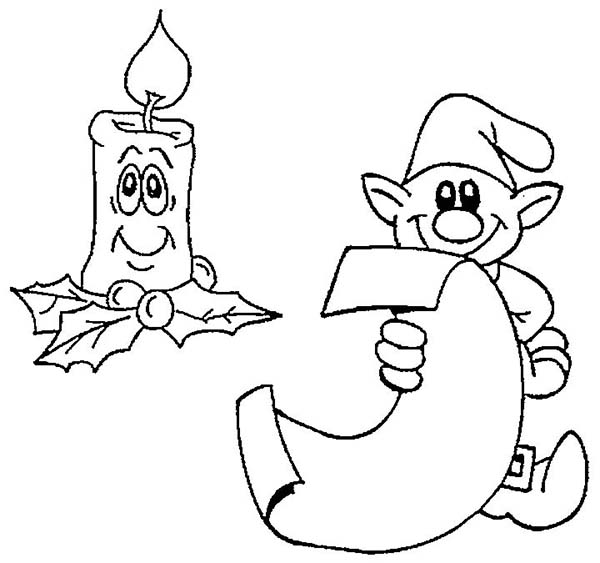Elf, : An Elf Reading with Candle Light Coloring Page