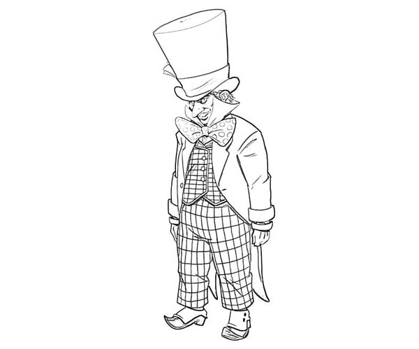 Mad Hatter, : Awesome Drawing of Mad Hatter Coloring Page