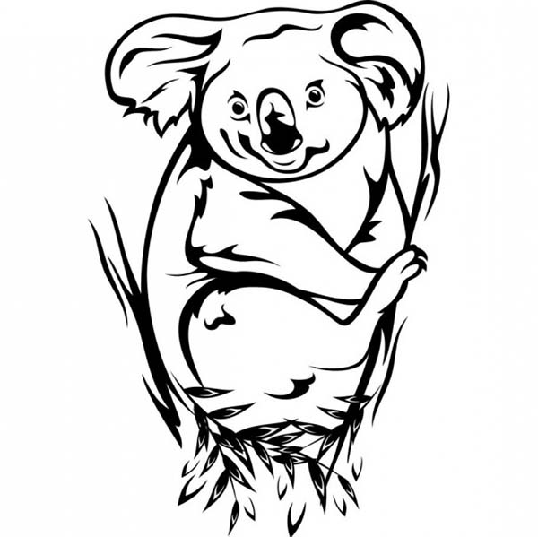 Koala Bear, : Awesome Koala Bear Coloring Page