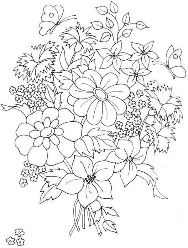 Beautiful Flower Bouquet Coloring Page | Color Luna