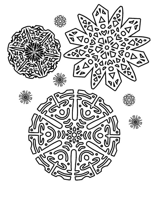 Snowflakes, : Beautiful Snowflakes Pattern Coloring Page