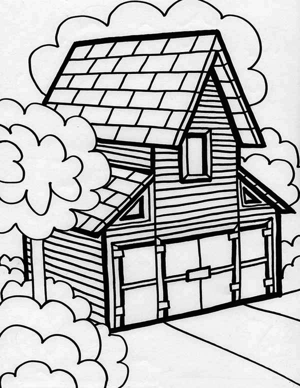 House, : Big Barn House in Houses Coloring Page