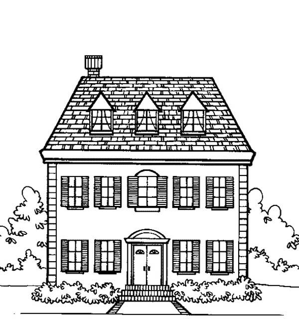 House, : Big Family Houses Coloring Page