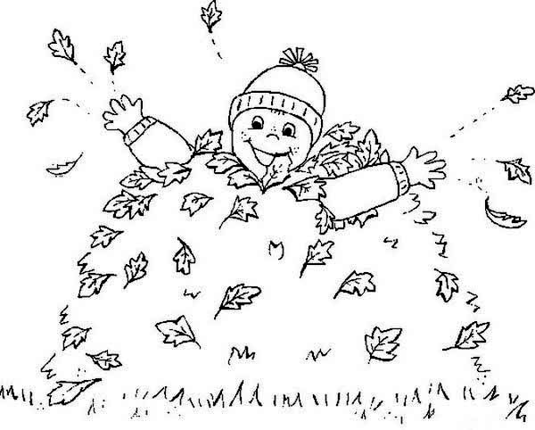 Fall Leaf, : Boy Covered by Fall Leaf Coloring Page