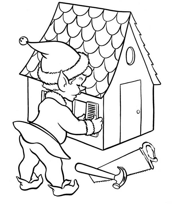 Elf, : Christmas Elf Building a House Coloring Page