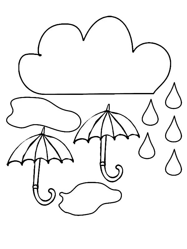 Cloud and Umbrella and Raindrop Coloring Page Color Luna