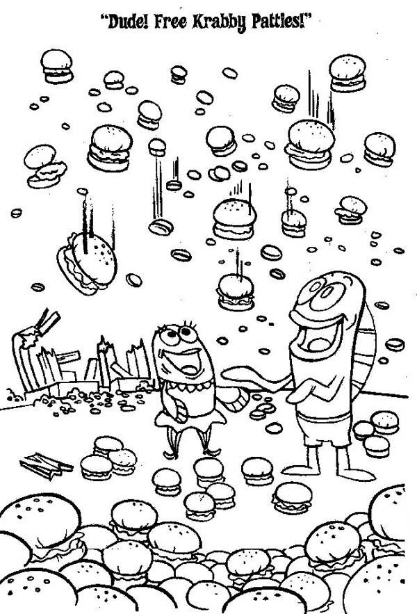 Krusty Krab, : Crabby Patty Rain from Krusty Krab Coloring Page