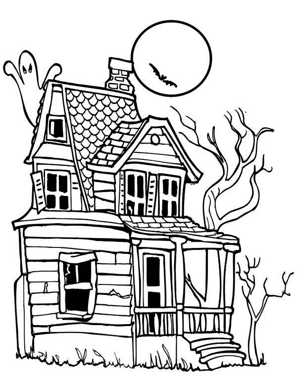 Creepy Haunted House in Houses Coloring Page Color Luna