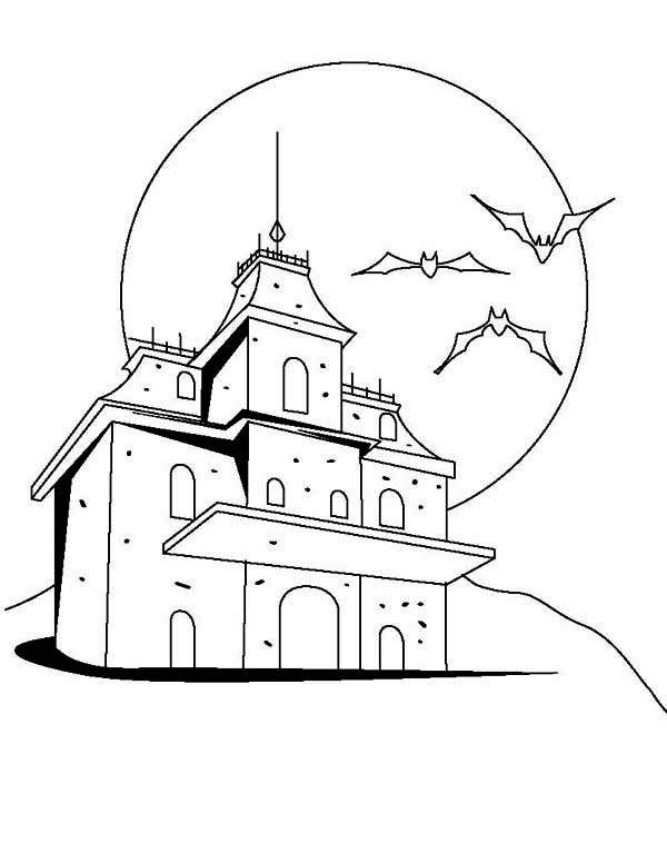 House, Creepy Haunted Houses Coloring Page: Creepy Haunted Houses Coloring PageFull Size Image