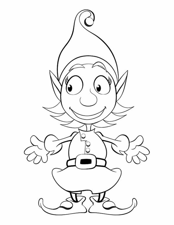 Elf, : Cute Girl Elf Coloring Page