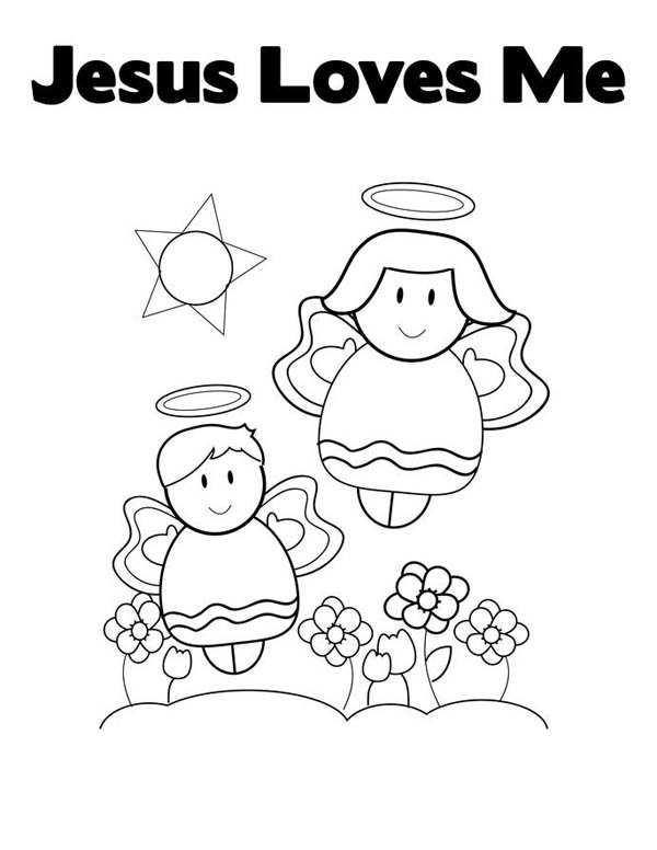 cute little angels in jesus love me coloring page