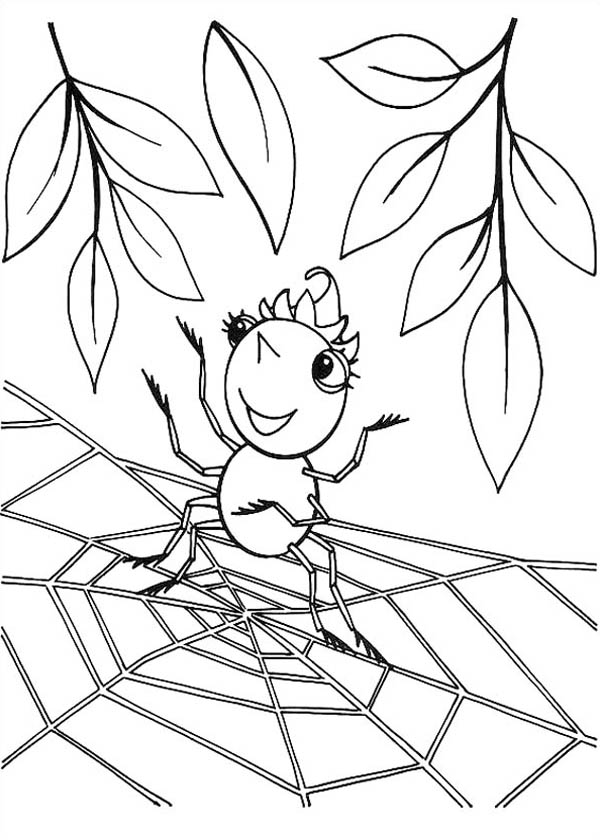 Cute Spider Girl Standing On Spider Web Coloring Page Color Luna Spider Web Coloring Page
