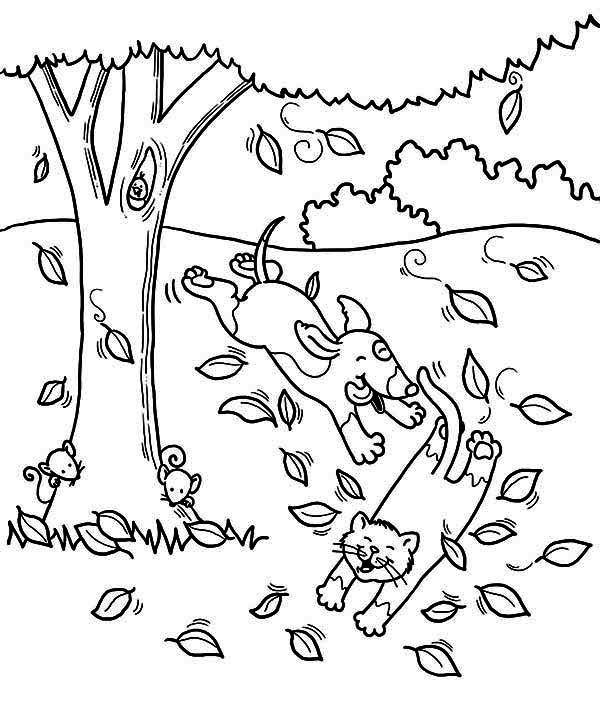 Dog Run After Cat Under Fall Leaf Coloring Page | Color Luna