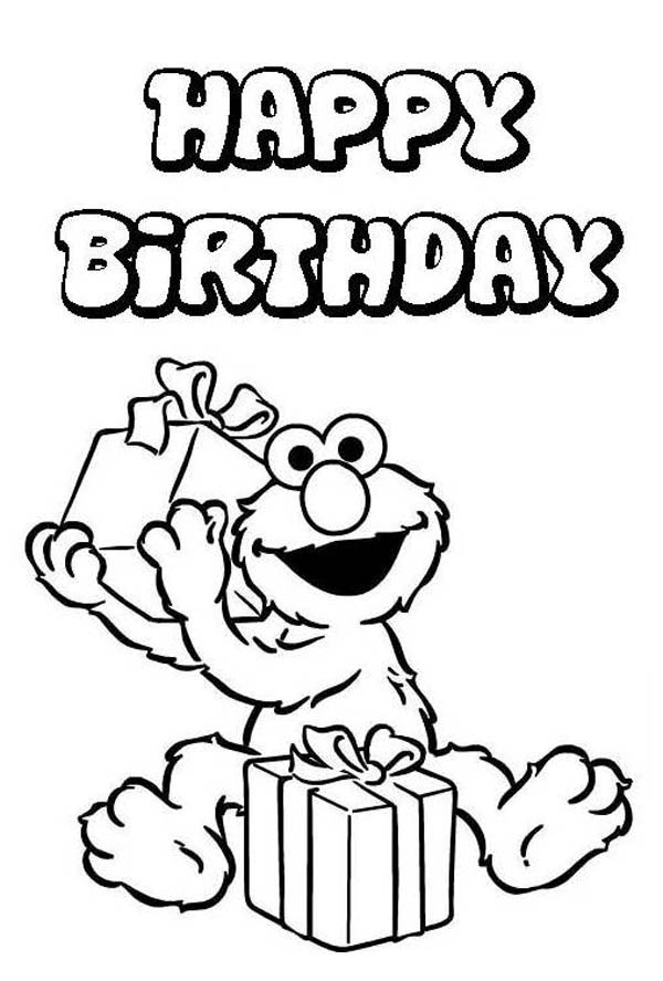 Elmo Love to Receipt Present in Happy Birthday Coloring Page ...