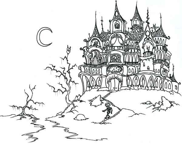 House, : Fantasy Ghost House and Skeleton in Houses Coloring Page