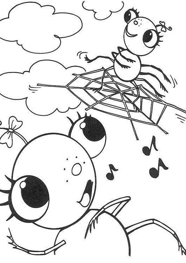 Spider, : Female Spider on Spider Web Coloring Page
