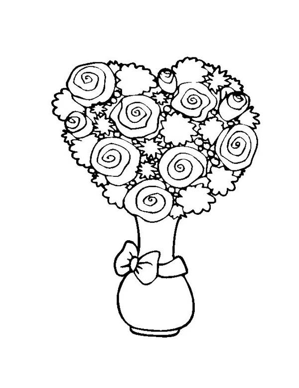 Flower Bouquet, : Flower Bouquet Shaped Heart Coloring Page