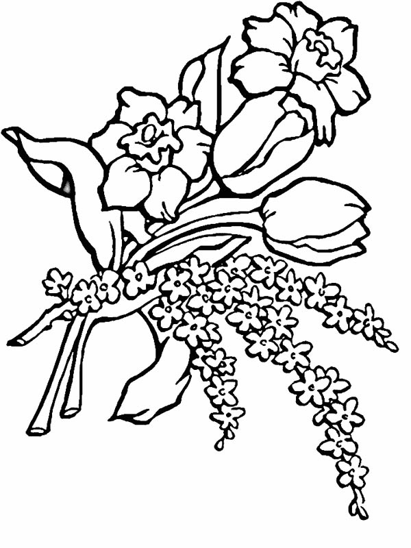 Flower Bouquet, : Flower Bouquet for Love Ones Coloring Page