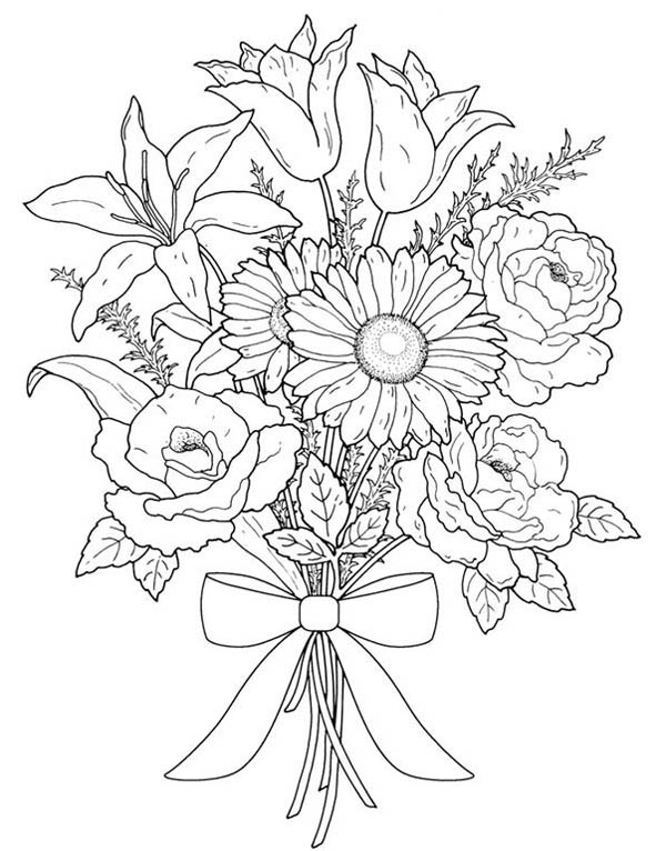 Flower Bouquet for Valentine Day Coloring Page | Color Luna