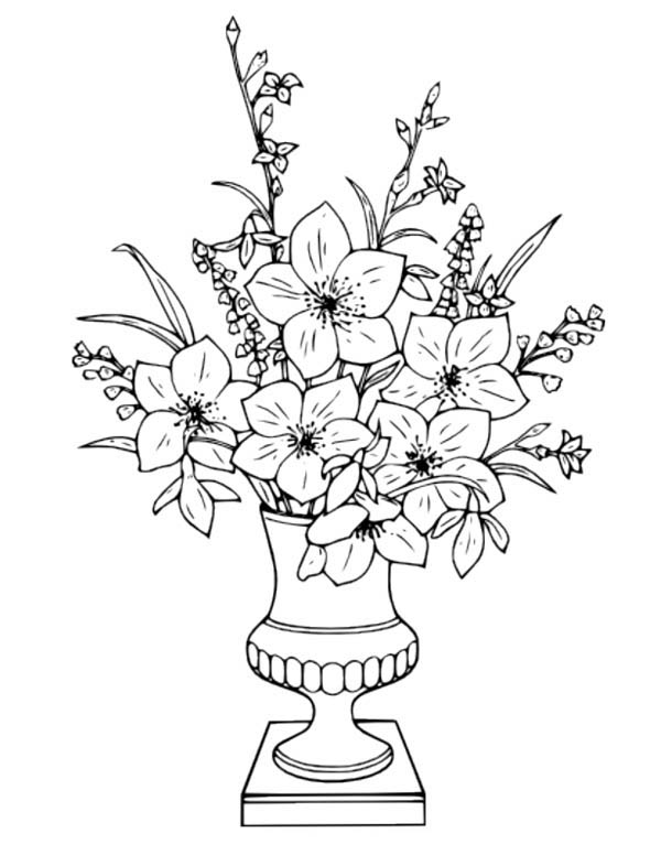 Flower Bouquet, : Flower Bouquet in Vase Coloring Page